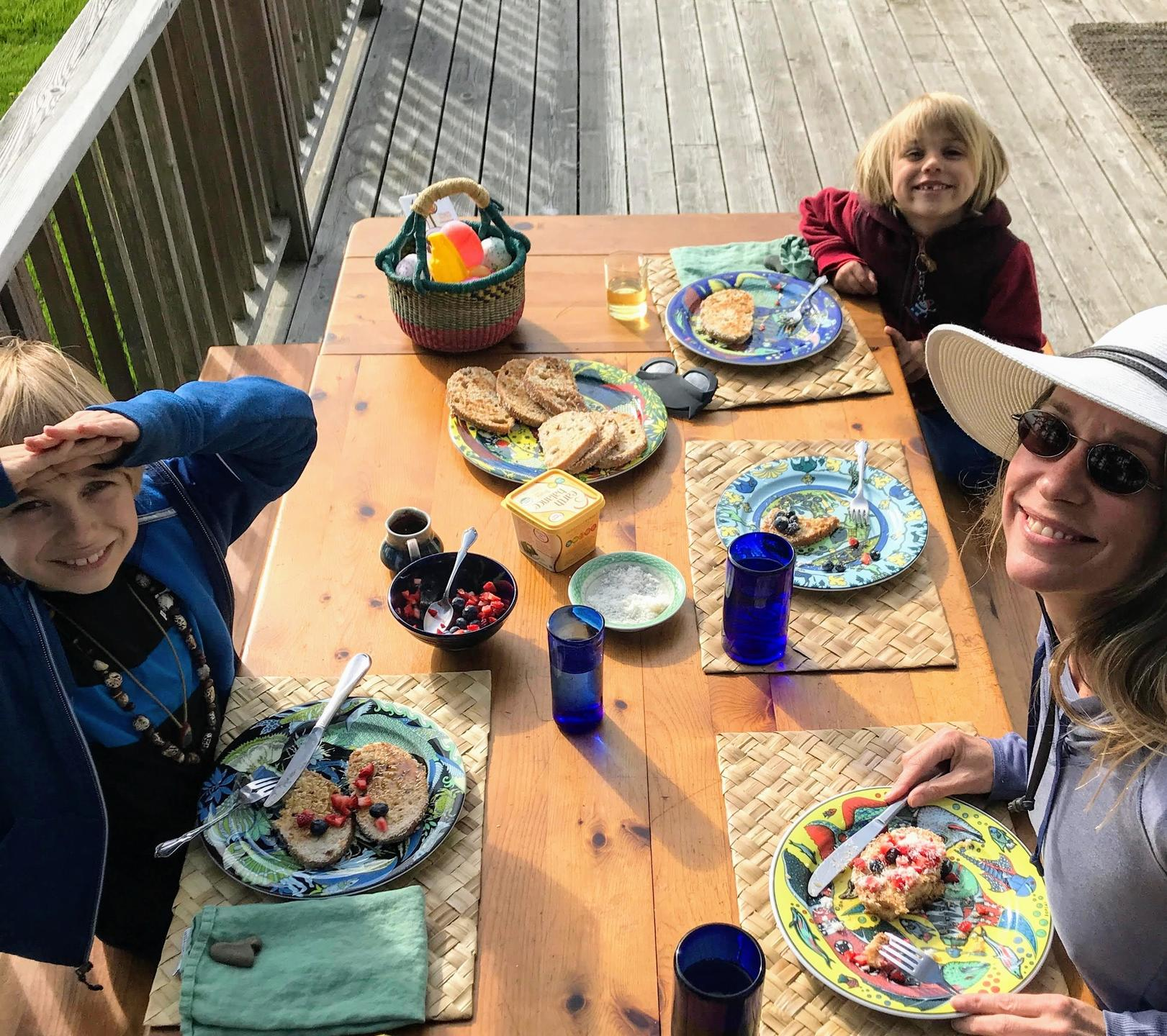 vegan family meal of vegan french toast outside on the deck