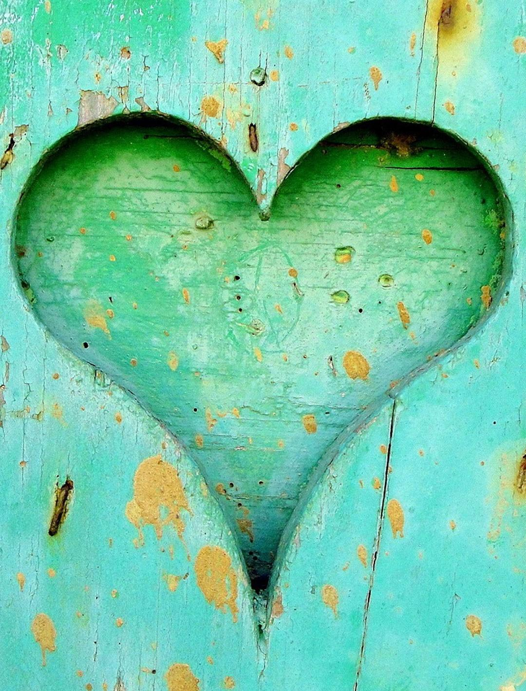 Green Heart Carved From Wood