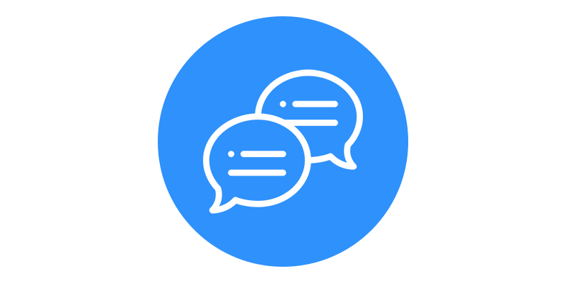 An icon of two speech bubbles