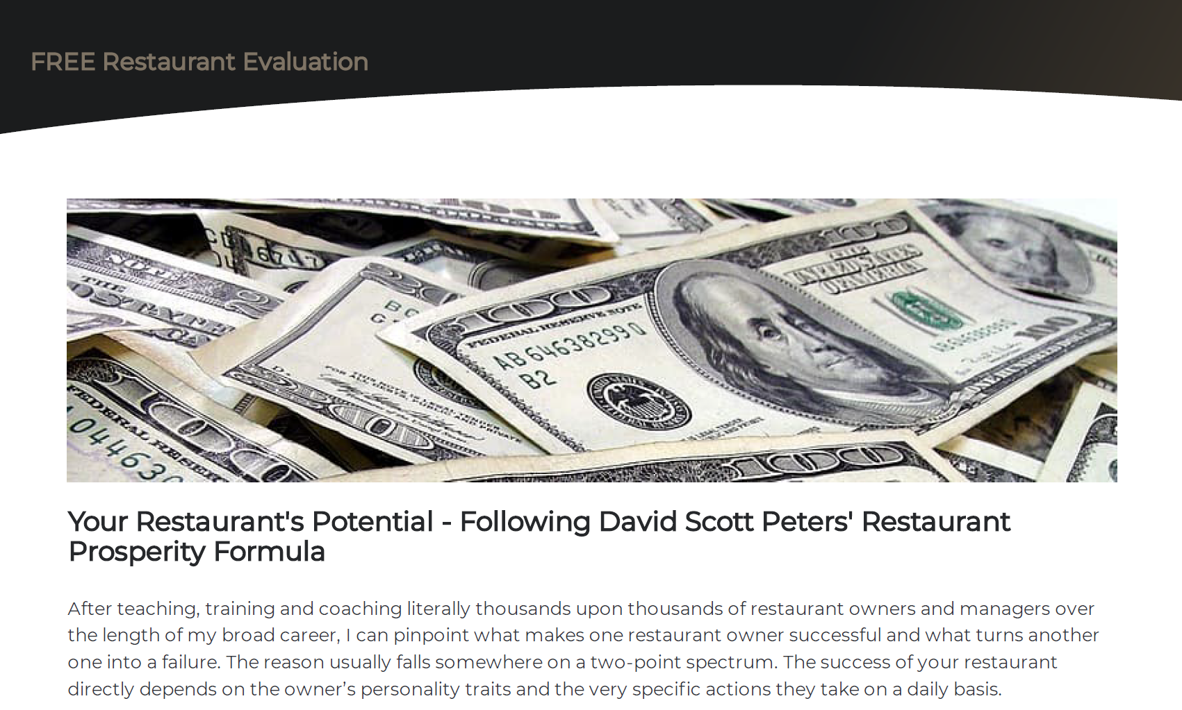 Free Restaurant Evaluation David Scott Peters Restaurant Prosperity Formula