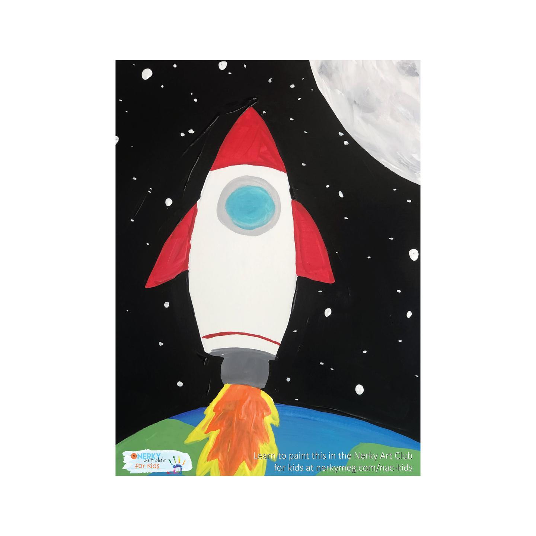 Rocket Ship Kids Painting