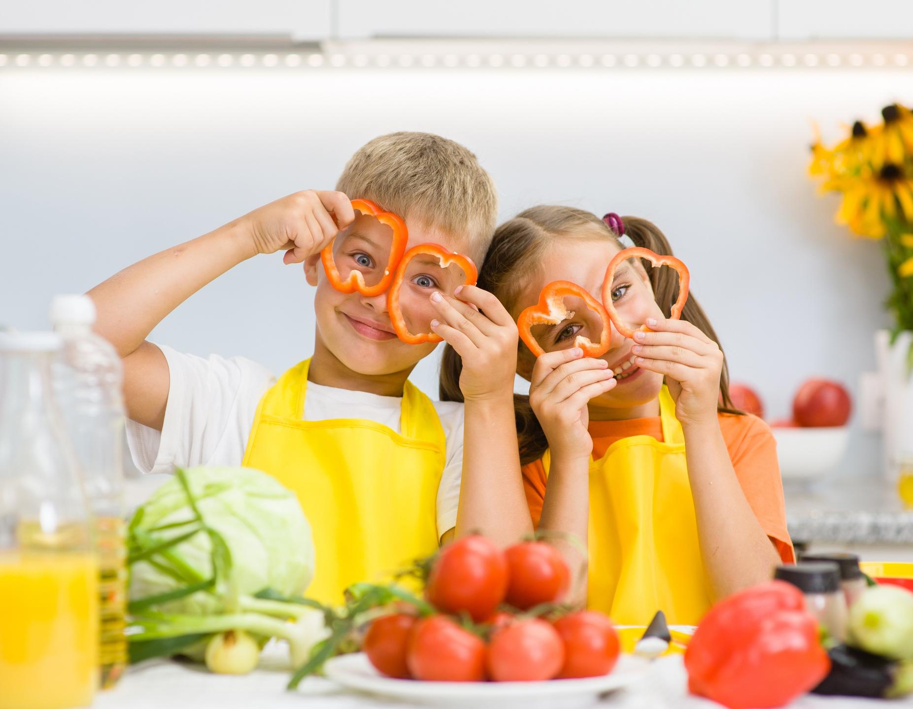 vegan kids with vegetables