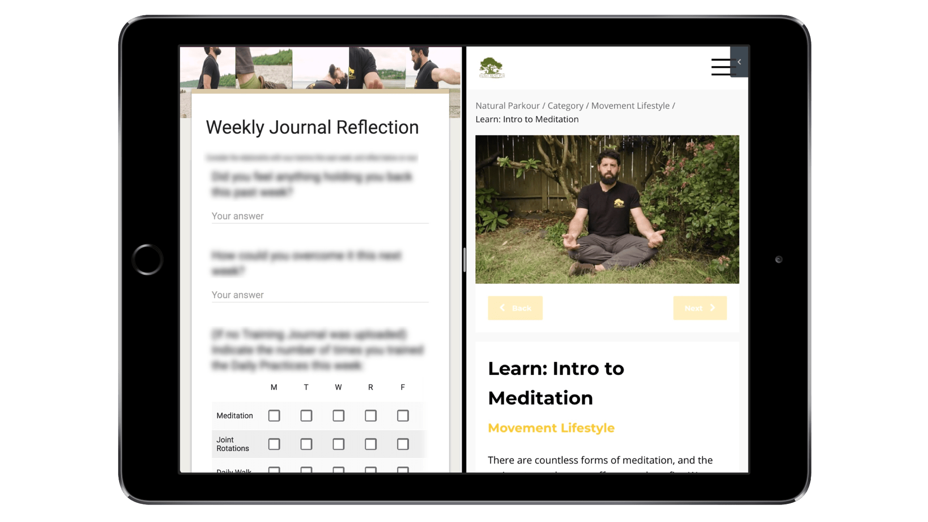iPad Split Screen meditation - Intro to Natural Parkour