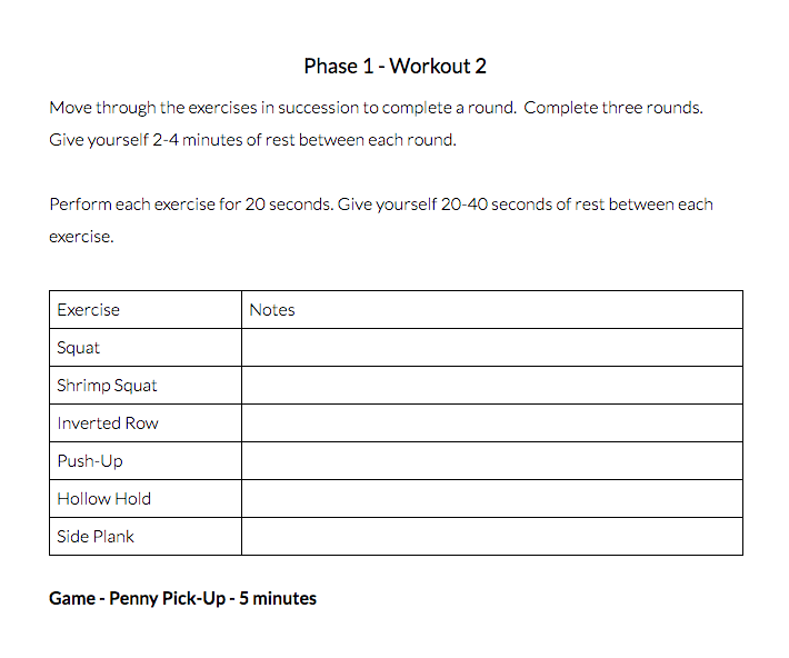 bodyweight workout example