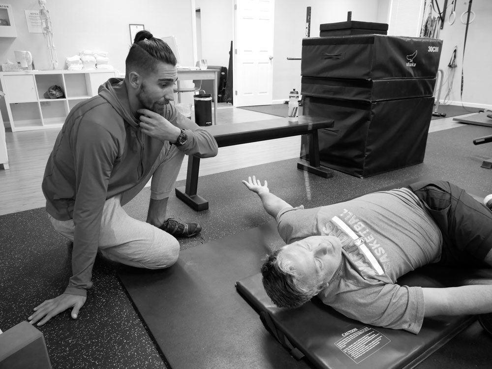 trevor training client at upright health