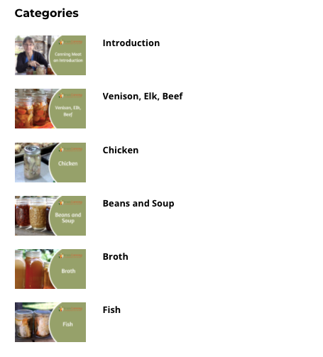 Canning Meat Categories