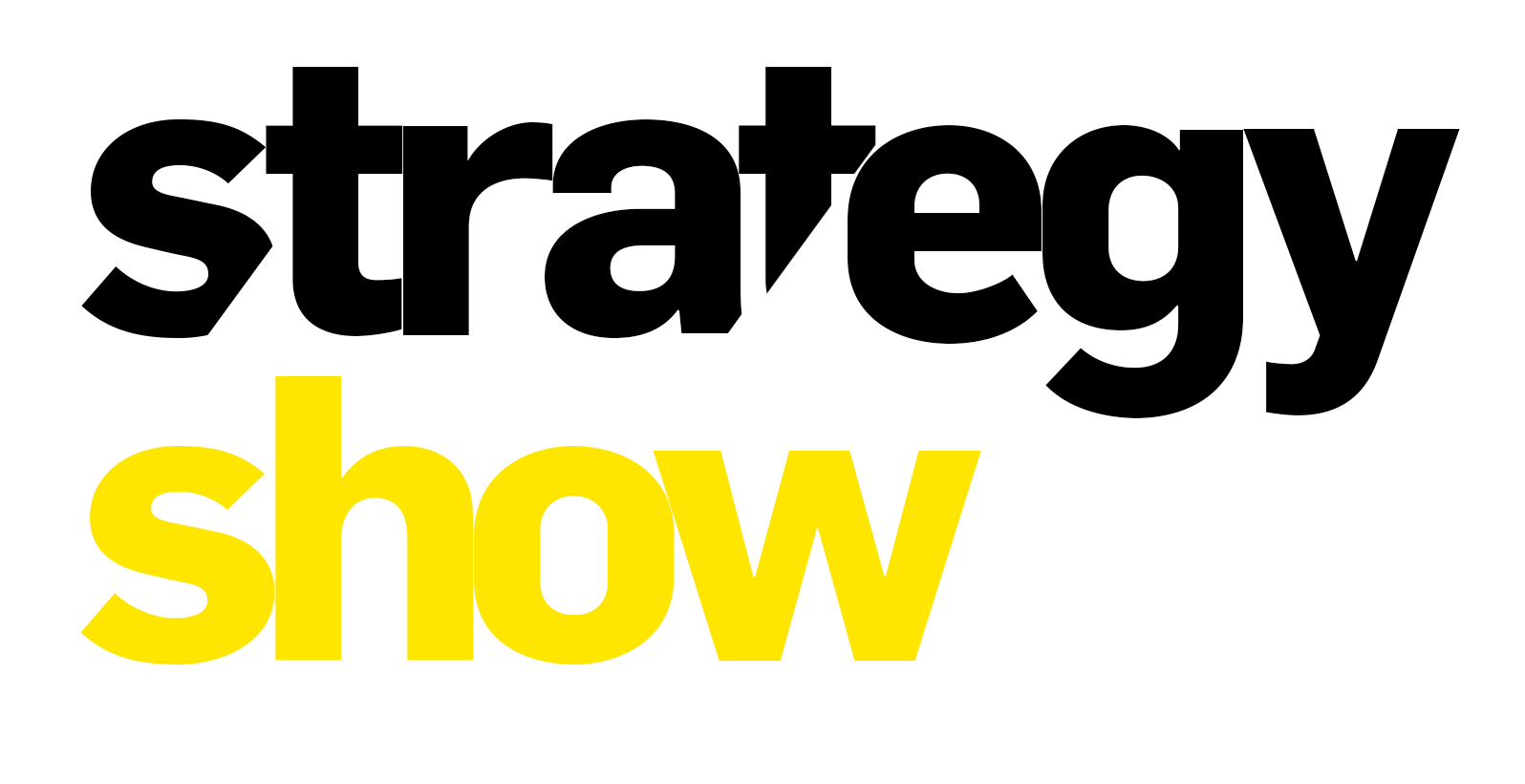 Strategy show logo black and yellow wording on white background