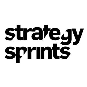 Strategy sprints logo black writing on white background