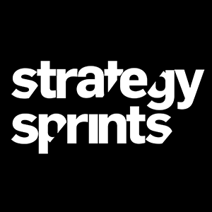 Strategy Sprints logo write writing on black background