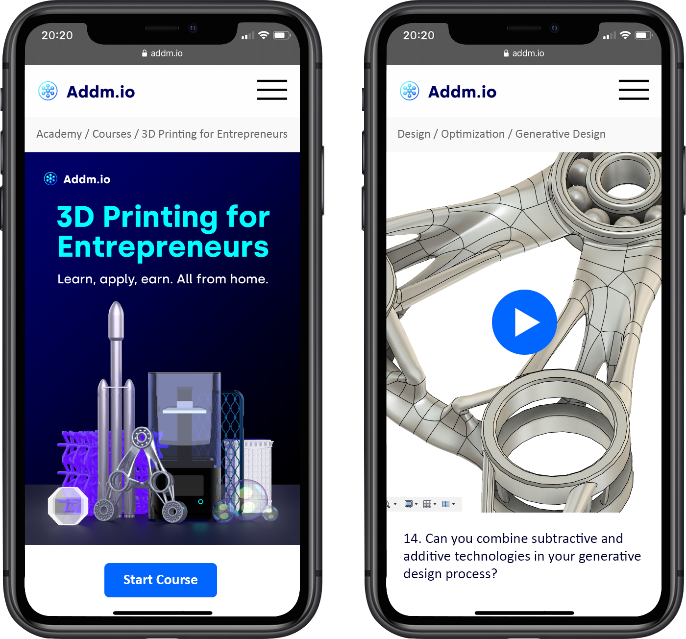 Addm.io online course and 3D printed material