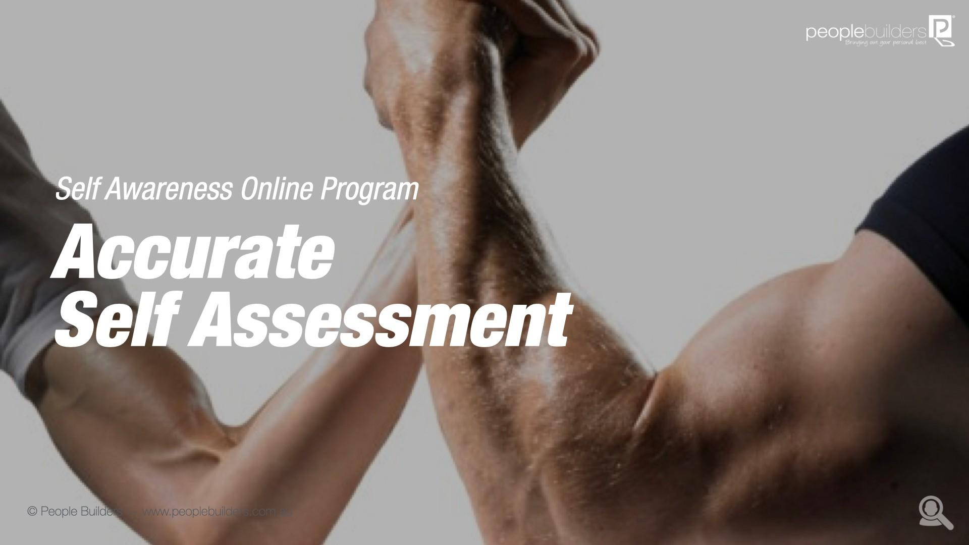 Accurate Self Assessment Training poster showing muscular and thin guy doing arm wrestling.