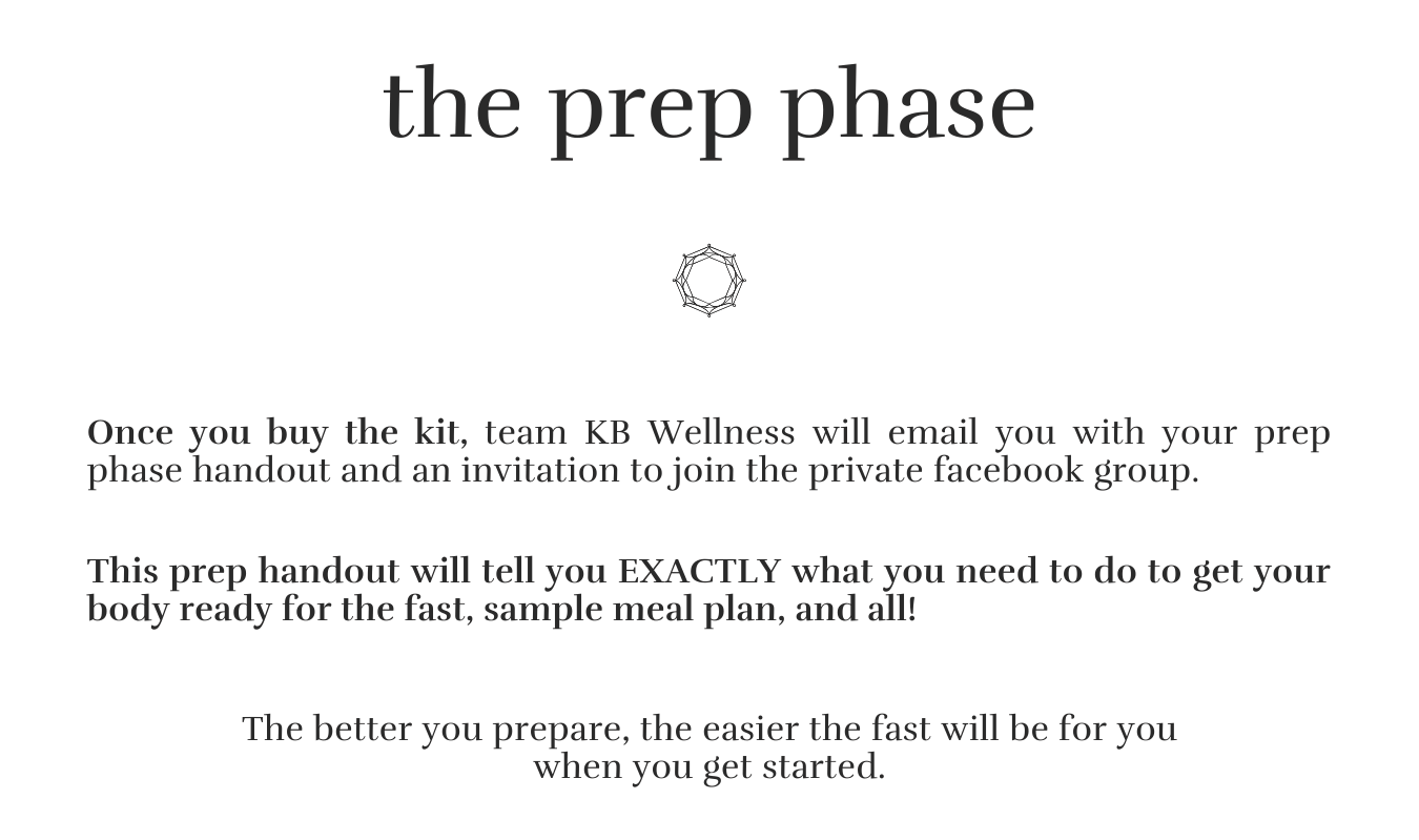Fasting mimicking diet plan prep phase handout.