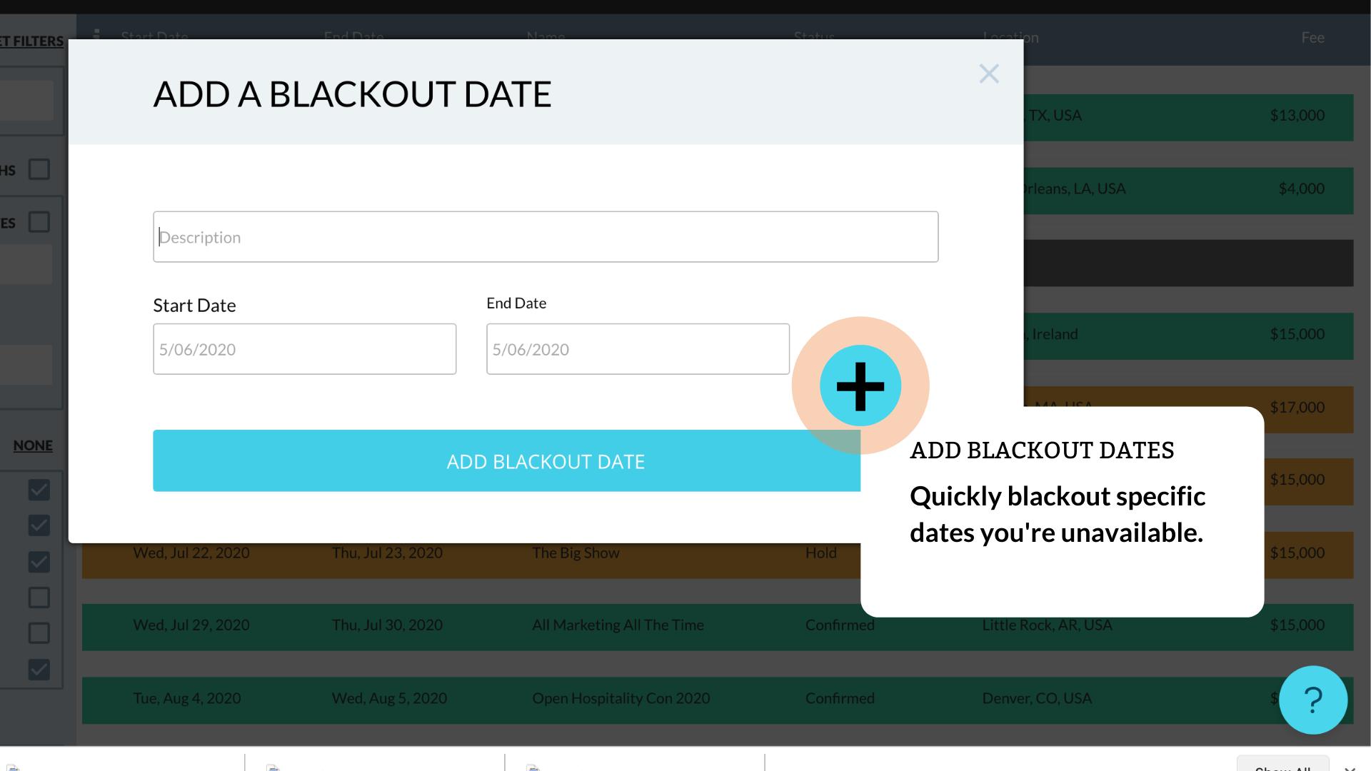 Add blackout dates