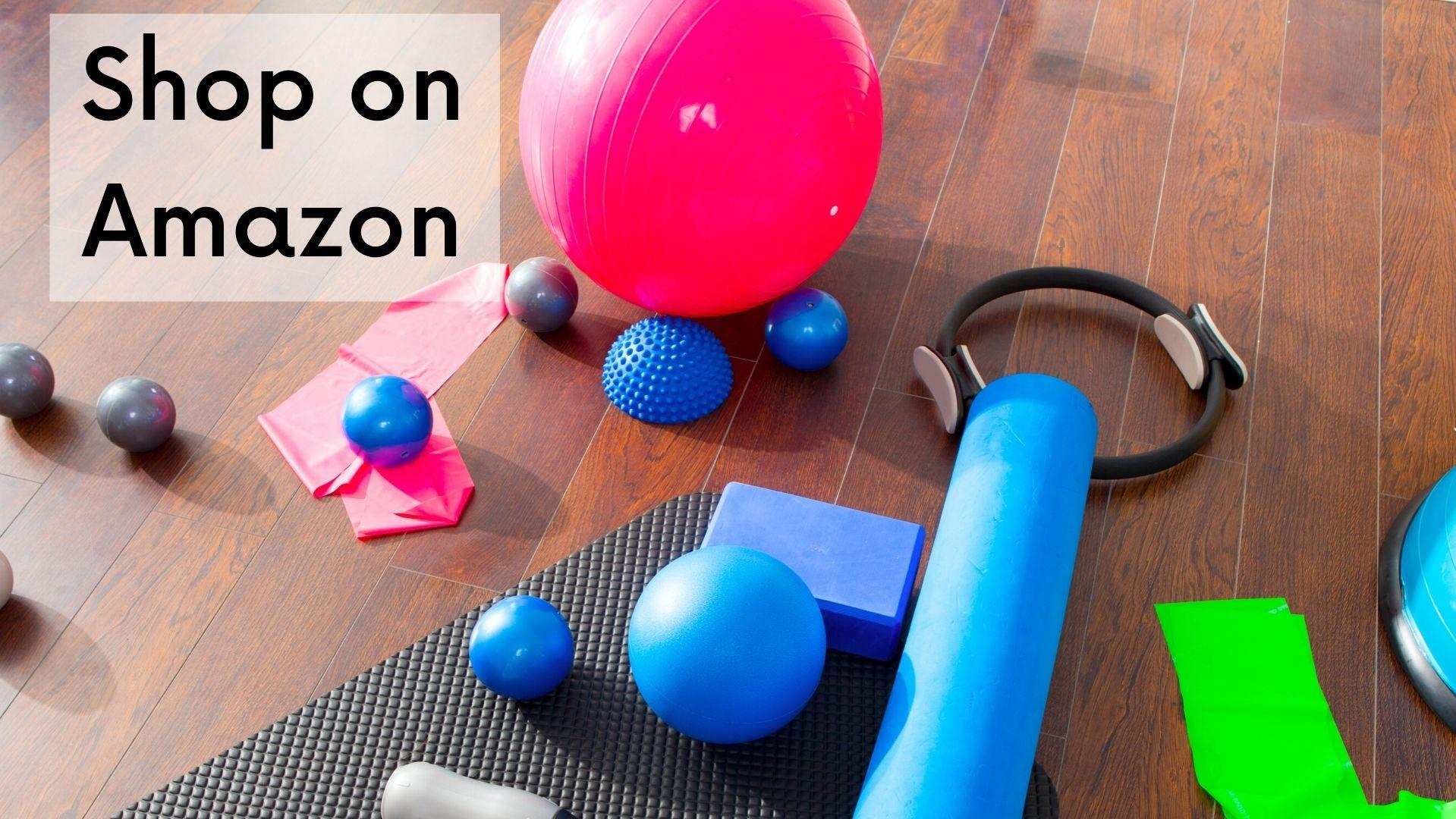 Picture of Pilates props with link to shop on Amazon