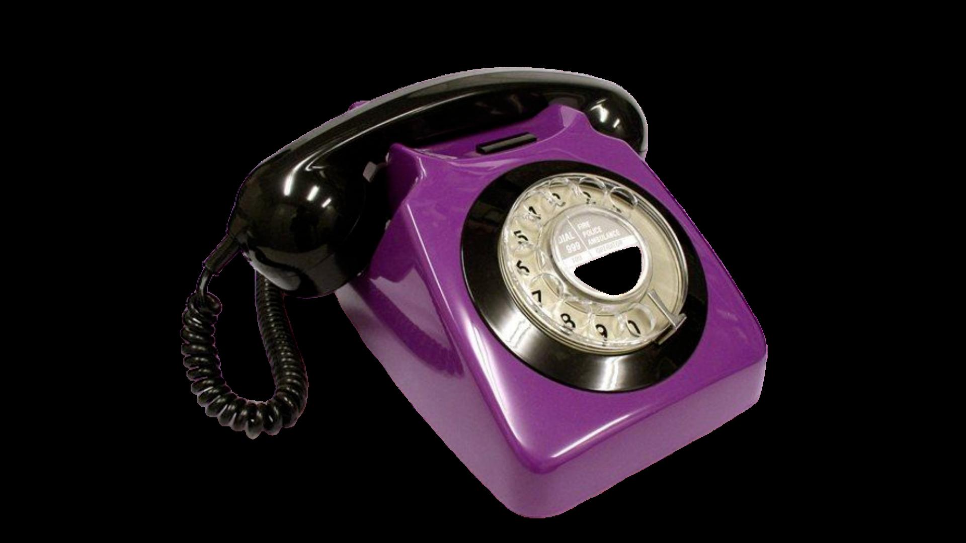 purple black rotary phone