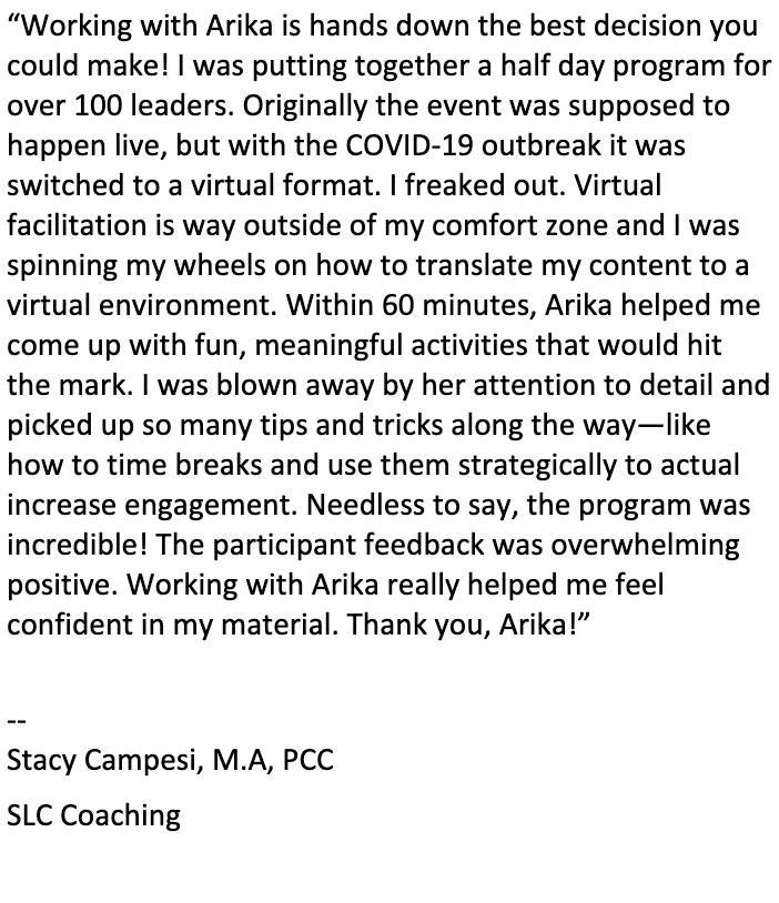 COVID facilitation workshop feedback