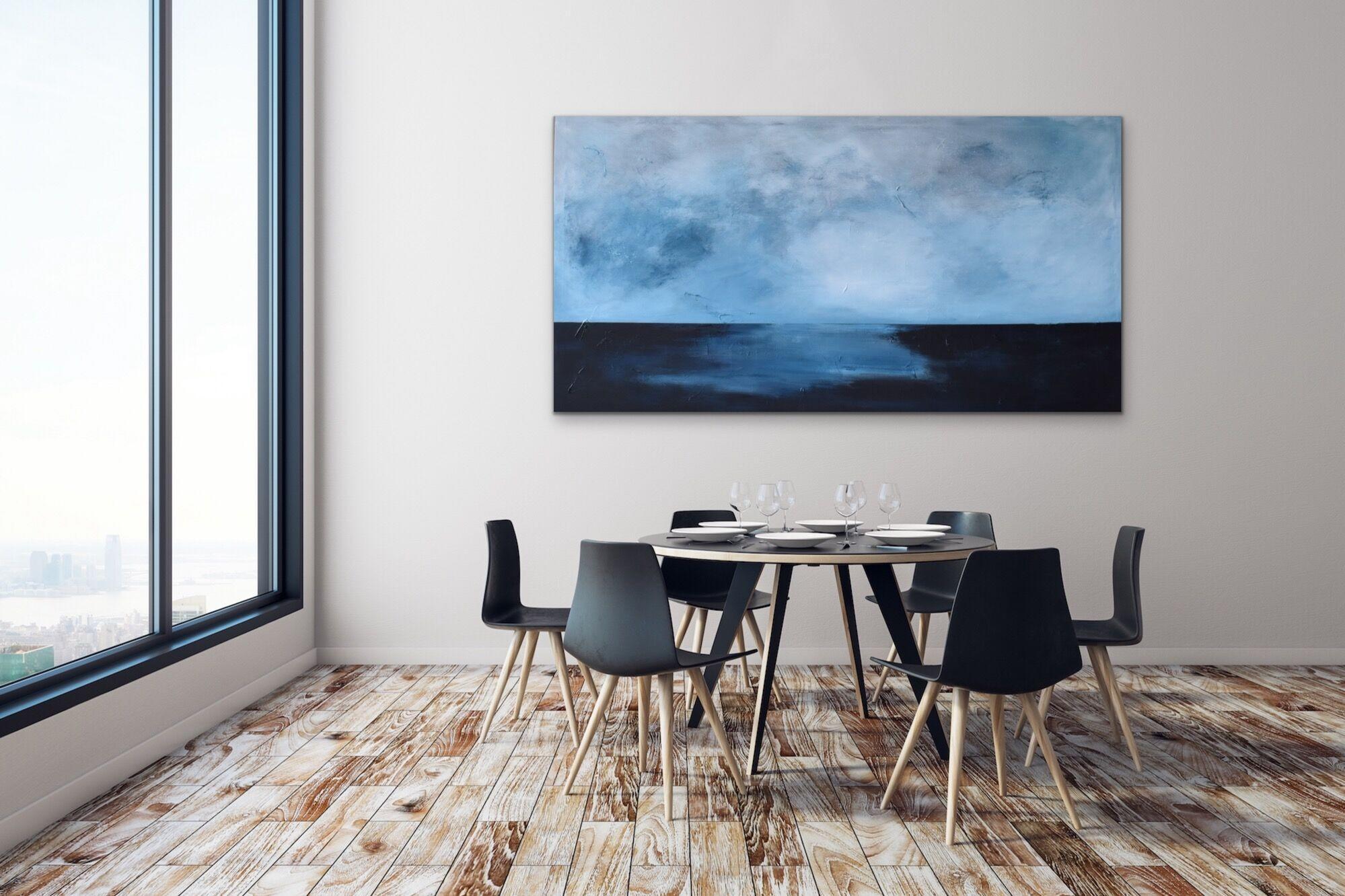 Maleri av horisont, abstrakt kunst på vegg