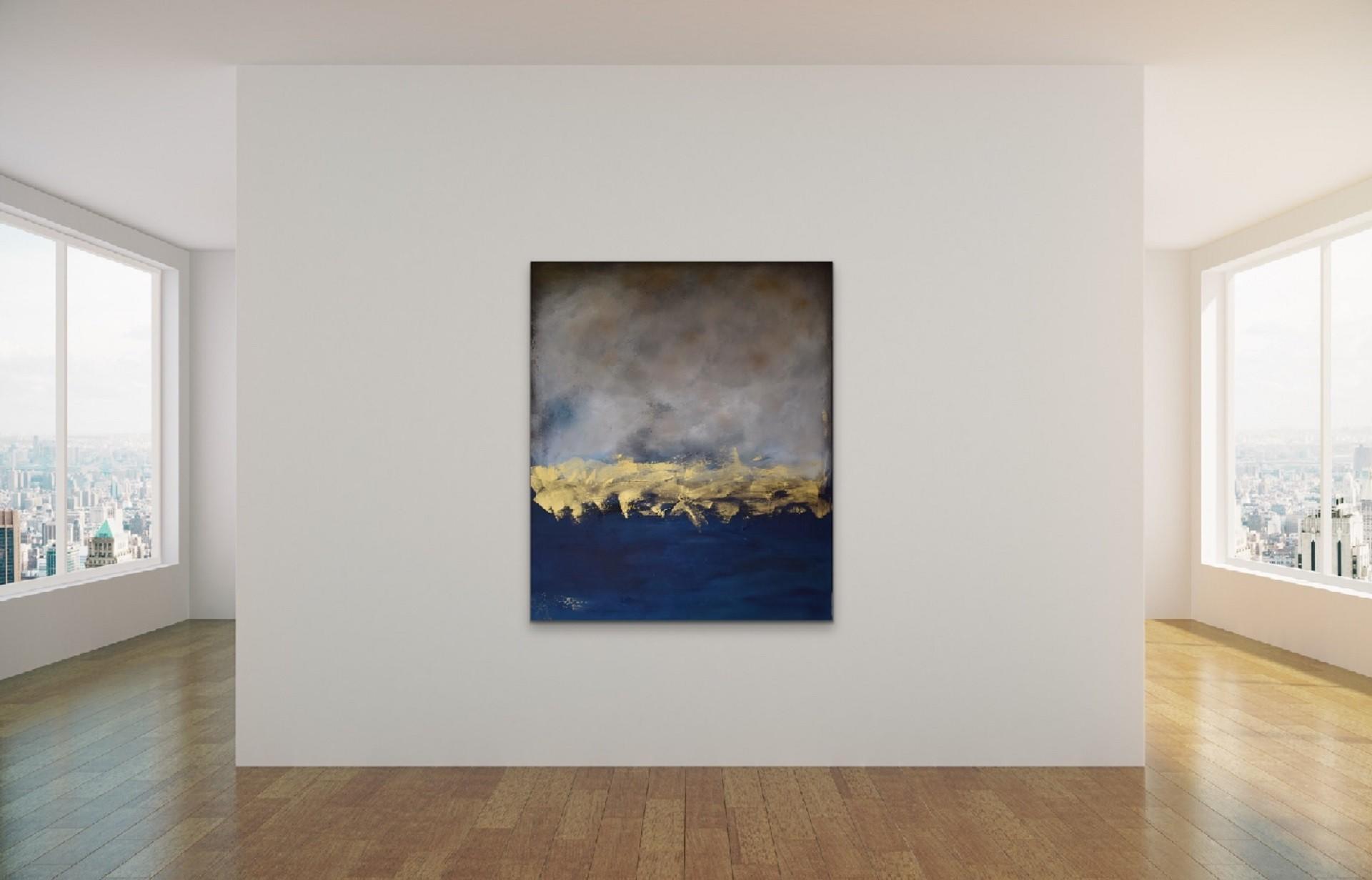 Stort maleri i blått, grått og gull
