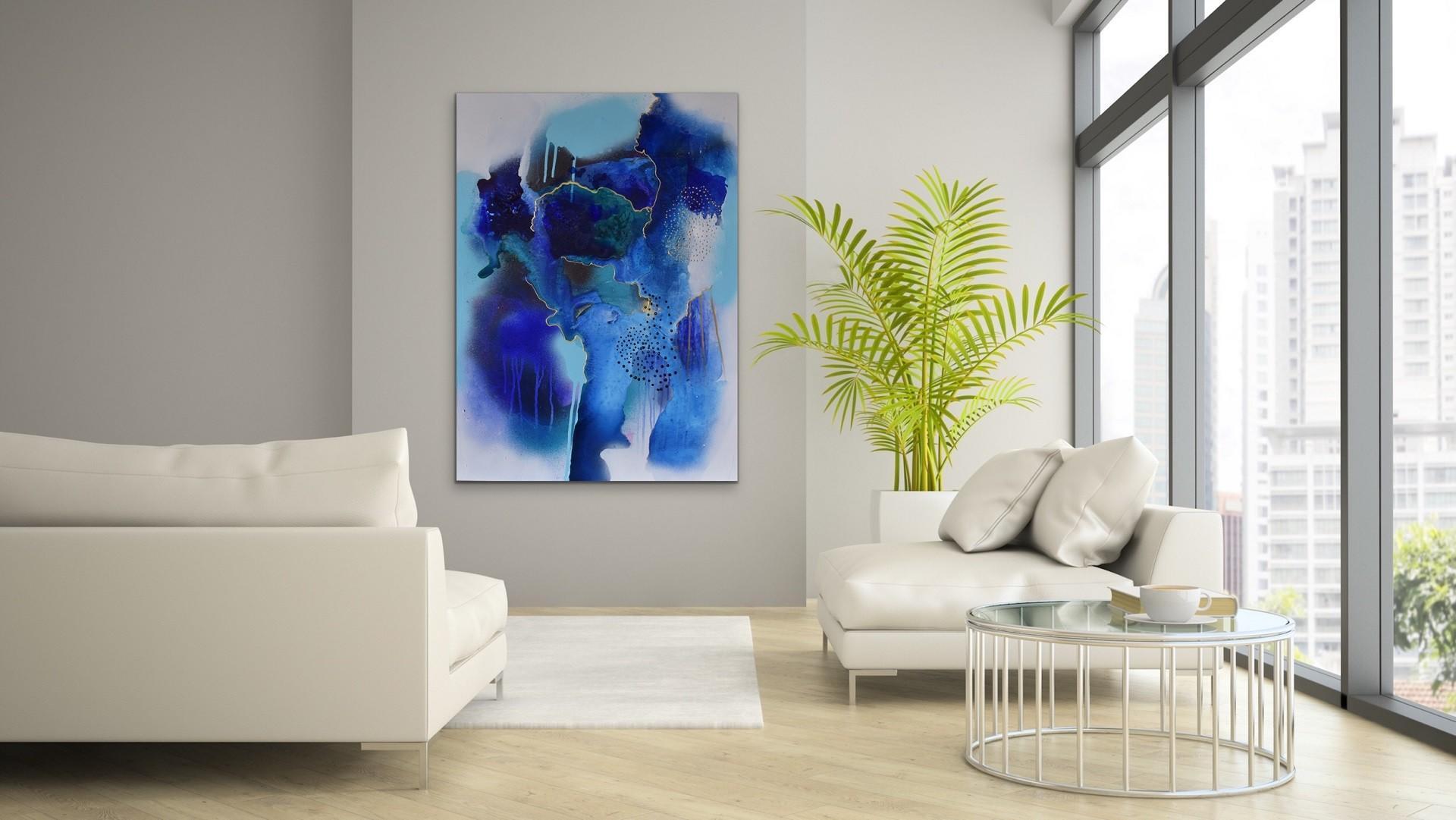 Maleri i blåtoner på vegg