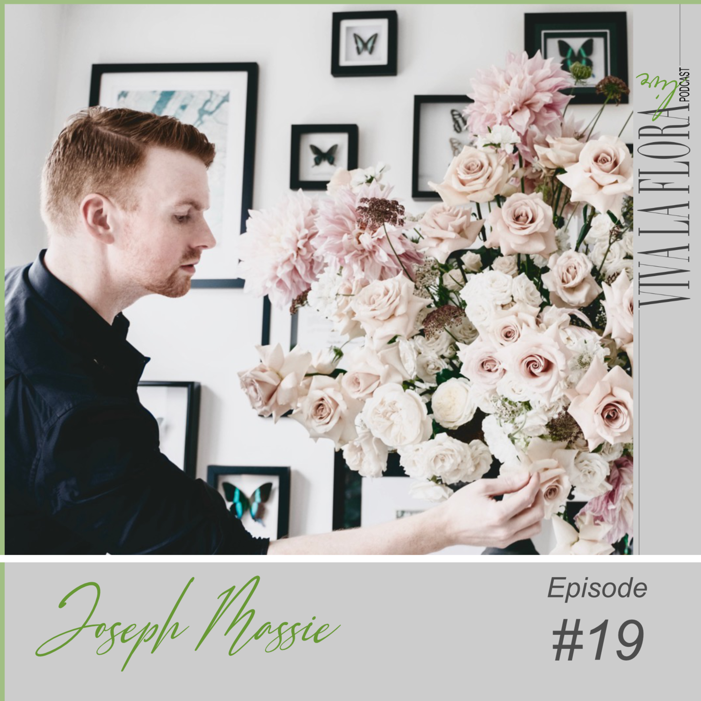 Joseph Massie arranging pink and blush flowers  for cover of Viva La Flora Live Podcast episode 19