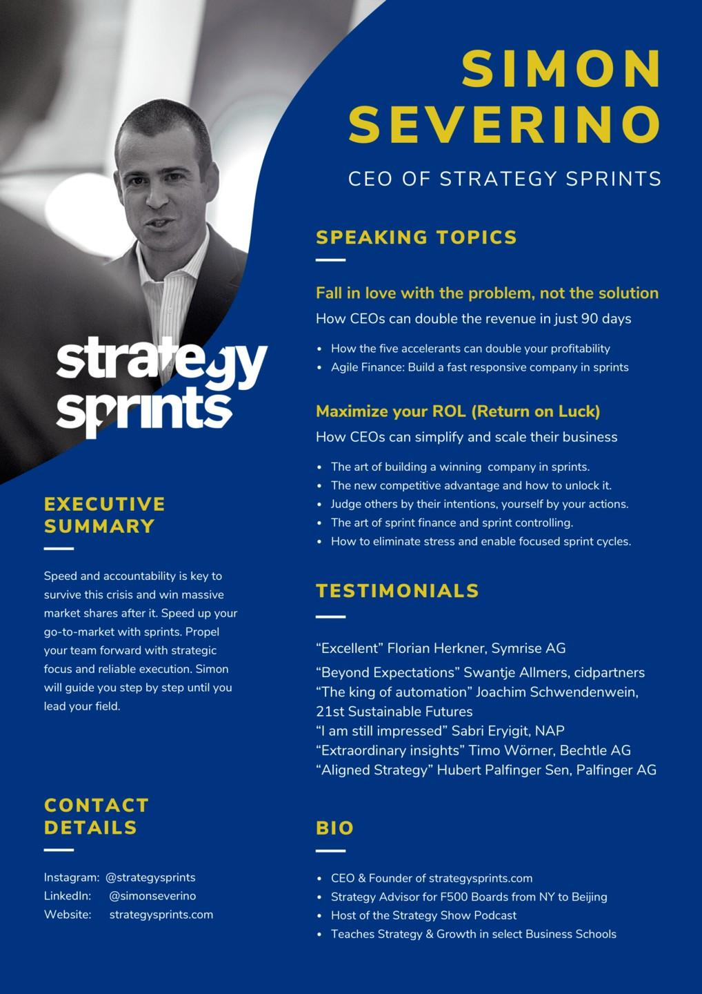 Simon Severino speaking page with summary speaking topics, testimonials, contacts and bio