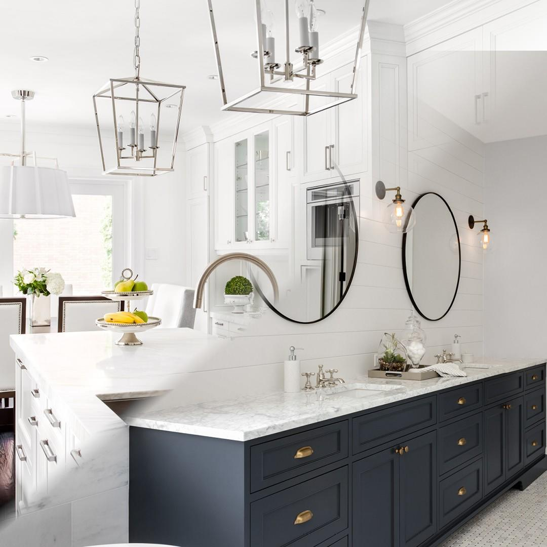Split image of a kitchen and bathroom.
