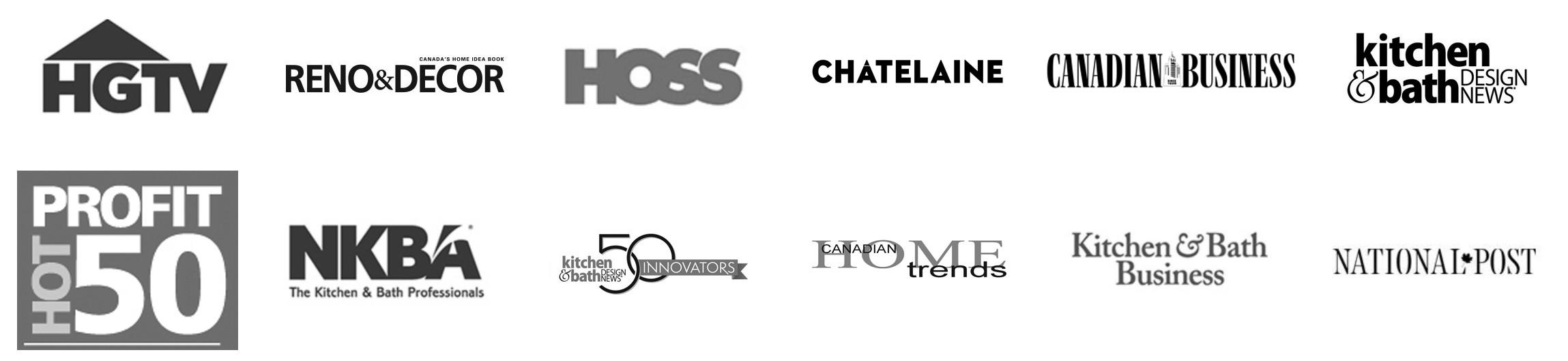 Logos of home design companies and magazines.