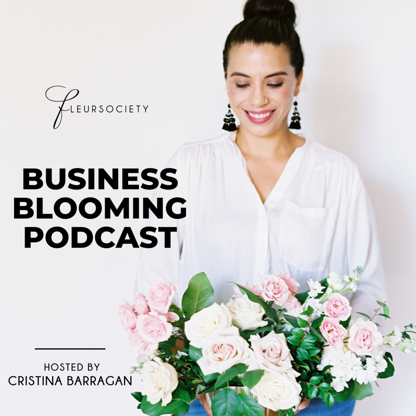 Christina Barragan holding flowers - podcast cover