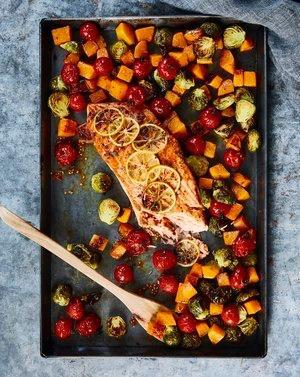 baked salmon on a roasting pan