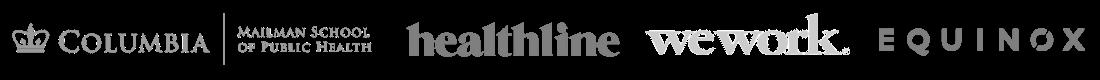 Columbia logo Healthline logo Wework logo Equinox logo