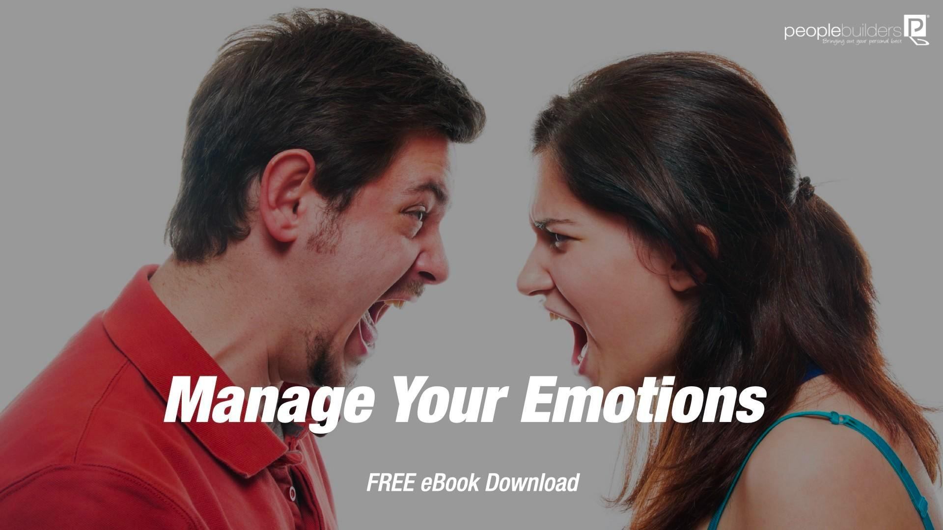Cover for Manage Your Emotions free Ebook showing a man and woman violently arguing because they cannot manage their emotions.