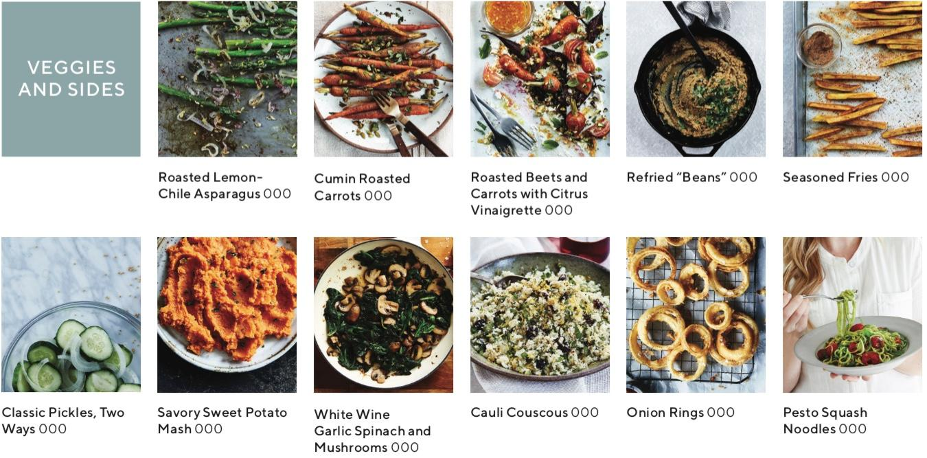 recipe index showing images of recipes that are veggies and sides