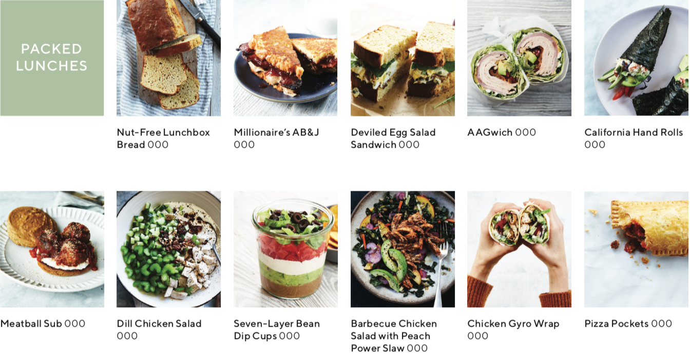 recipe index showing images of recipes from packed lunches