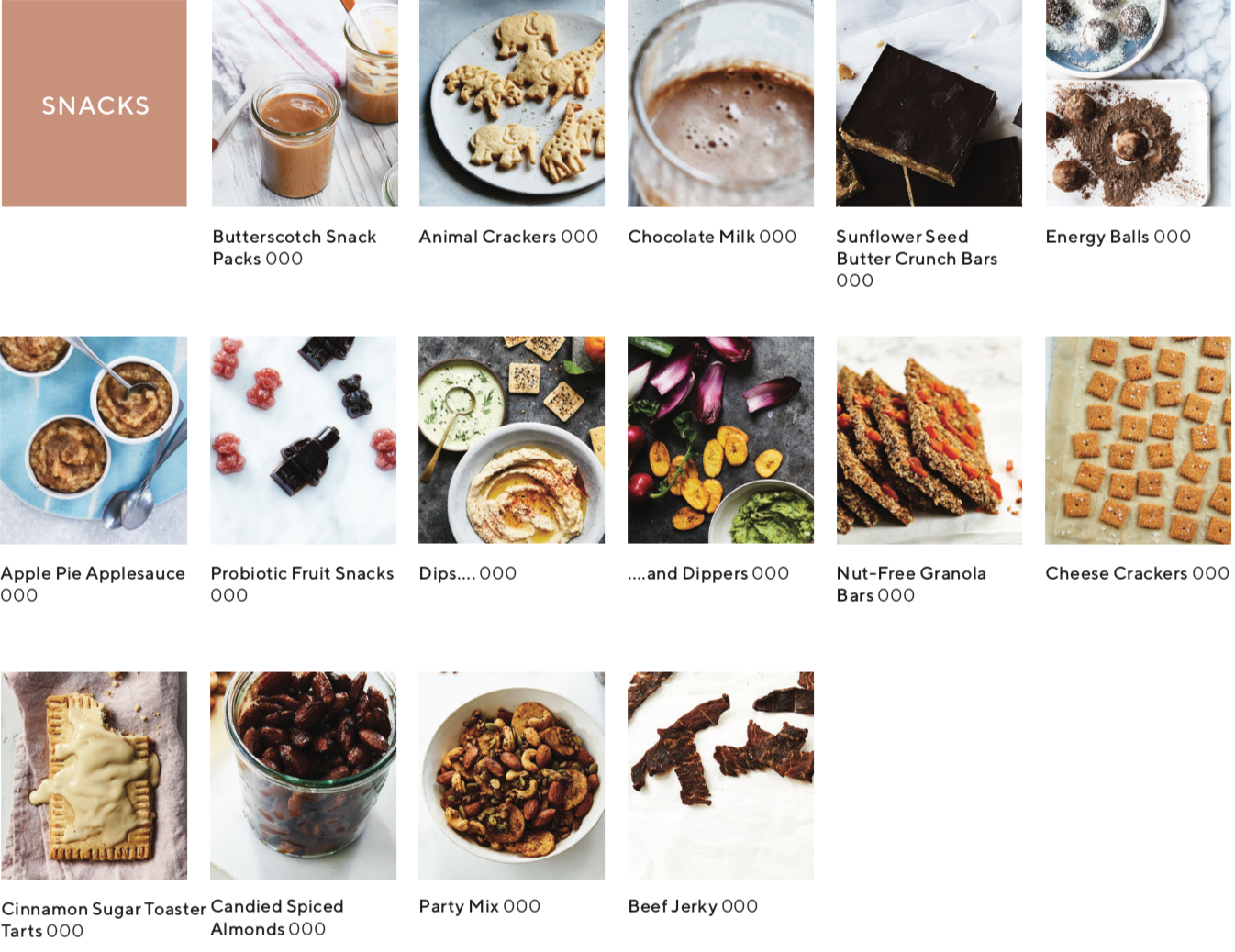 recipe index showing images of recipes that are snacks