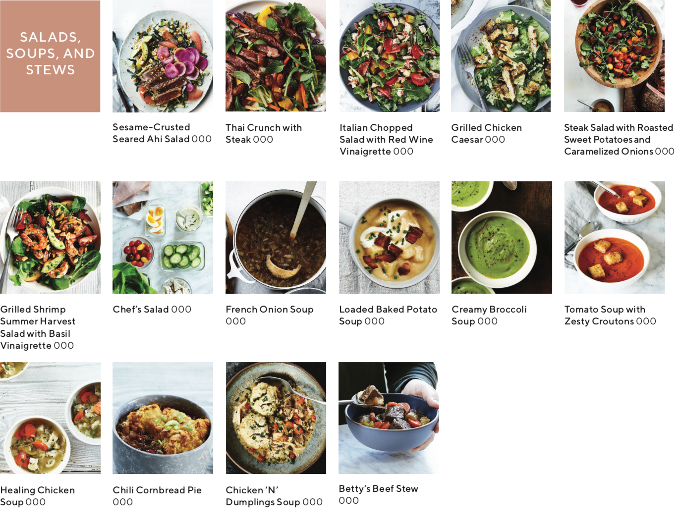 recipe index showing images of recipes that are soups salads and stews