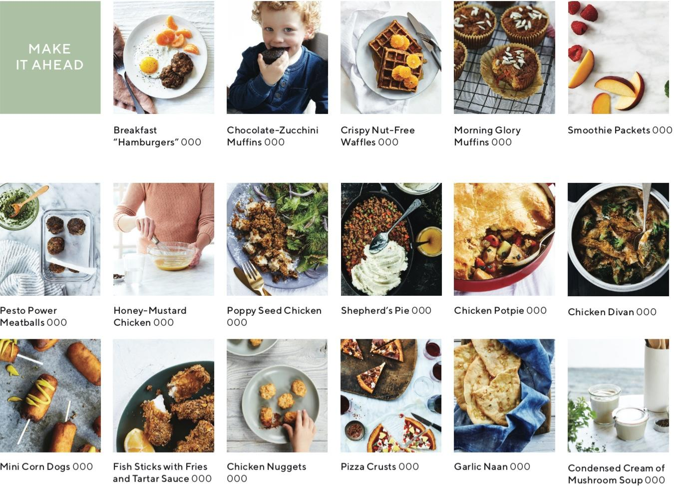 recipe index showing images of recipes that you can make ahead