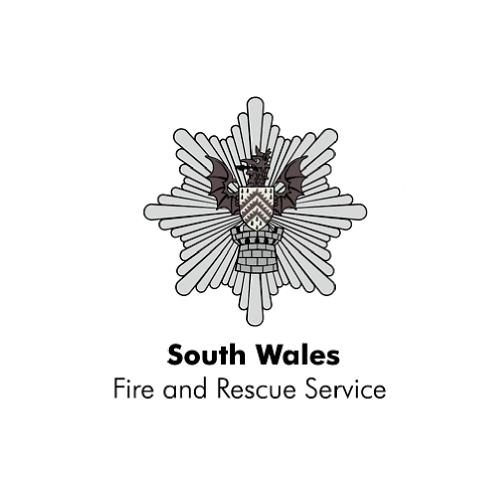 South Wales Fire Service Logo in black & white links to South Wales fire service website