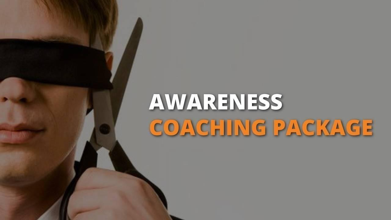Poster for Awareness Coaching Package showing Man cutting off his blindfold