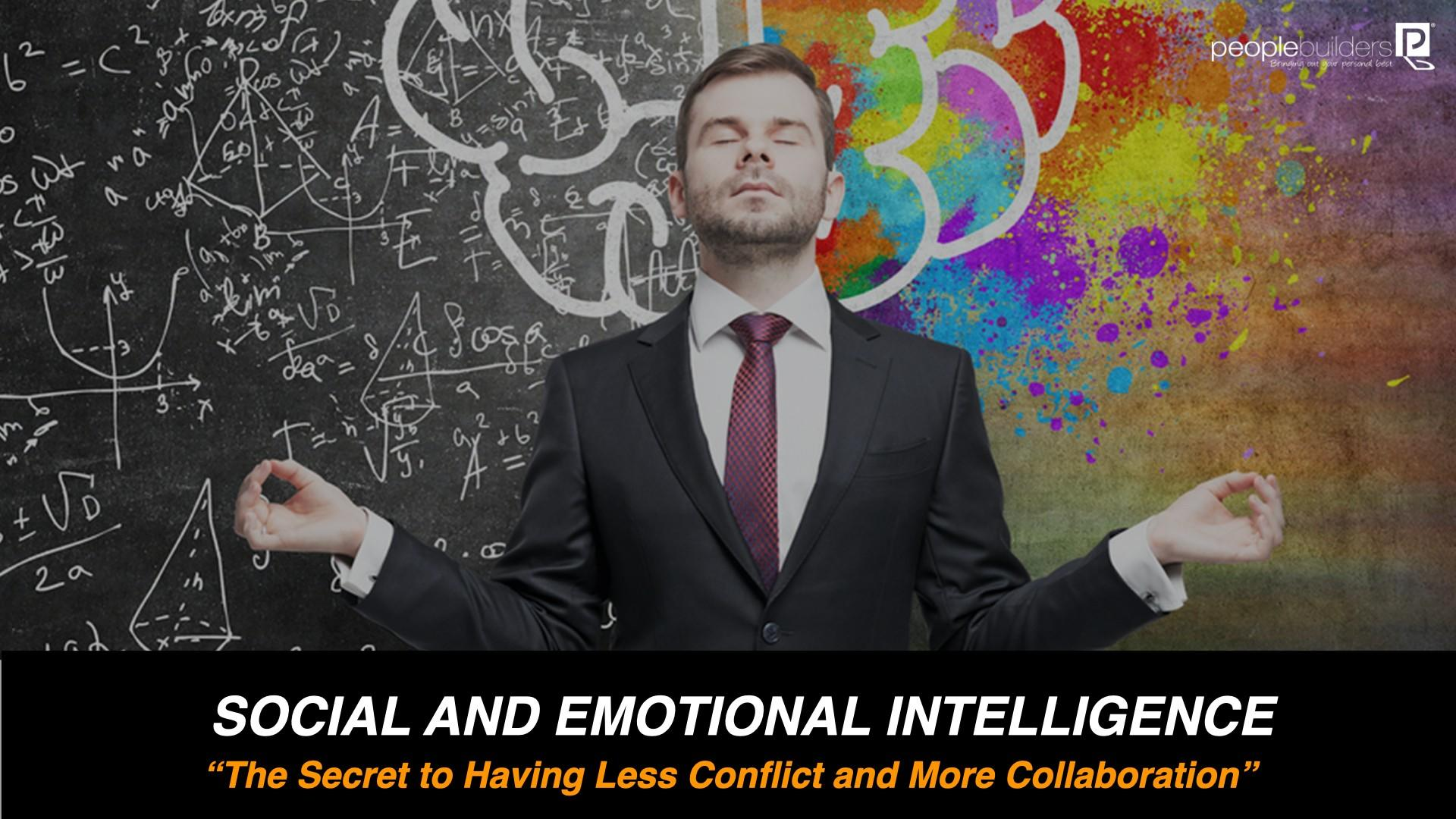Emotional Intelligence ebook cover showing Man doing a meditation pose. The title of ebook is the secret to having less conflict and more collaboration.