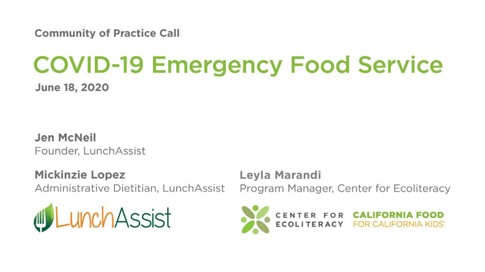 COVID-19 Emergency Food Service Community of Practice Call