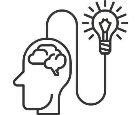 brain connected to lightbulb drawing