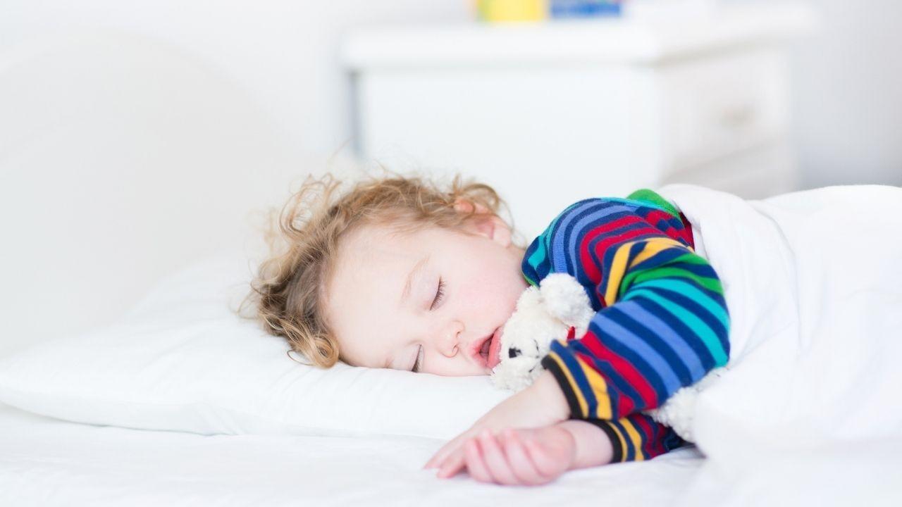 Sleeping toddler with teddy bear