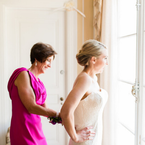 Bride and mother of the bride getting ready at Oxon Hill Manor, Maryland