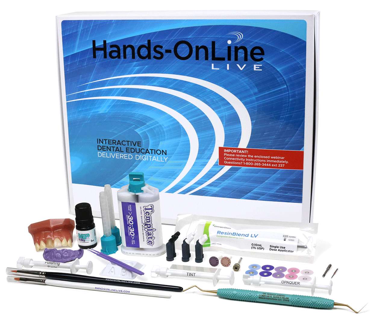 Hands-On technique kit for the Discolored Central Incisor Hands-OnLine LIVE course with Dr. Margeas. Included in tuition.
