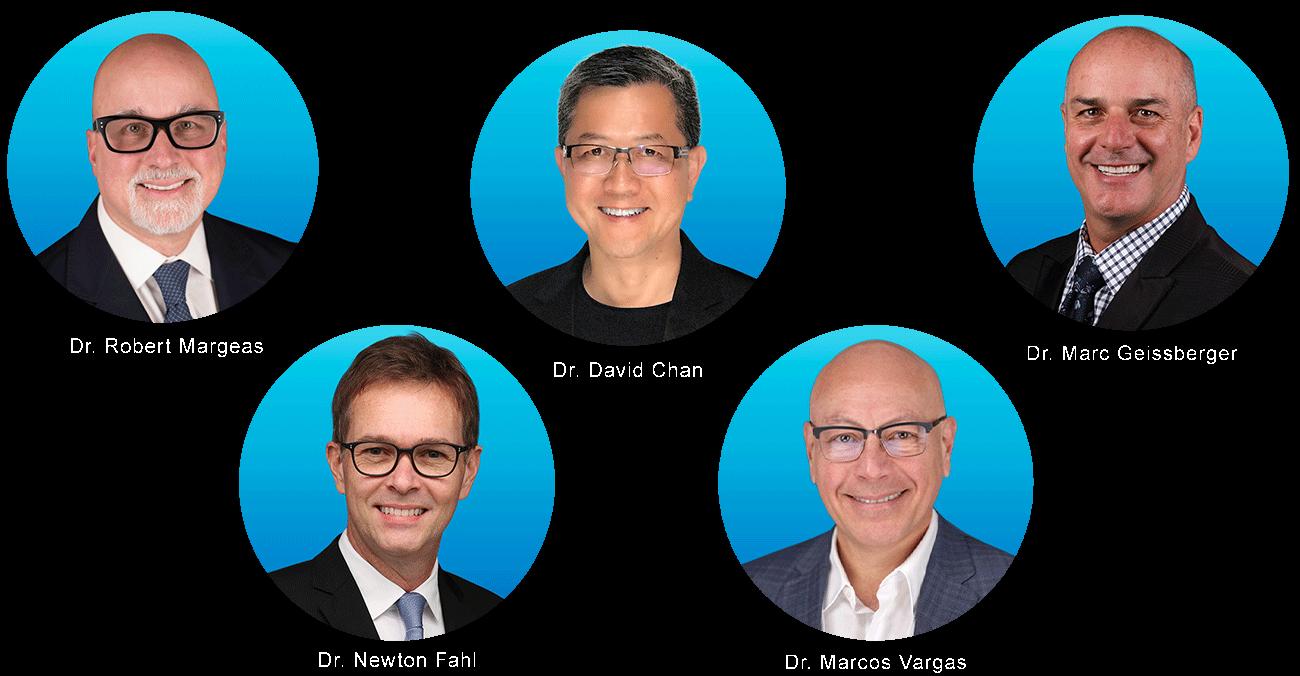 Dr. Bob Margeas, Dr. David Chan, Dr. Marc Geissberger, Dr. Newton Fahl, Dr. Marcos Vargas: faculty for Hands-OnLine LIVE, dental hands-on continuing education delivered live and on-demand