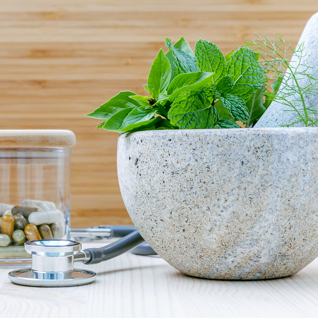 Naturopathic Medicine Services in Port Credit Mississauga, ON - pureBalance Wellness Cancer Care - stethoscope, pestle and mortar, herbs and naturopathic capsules