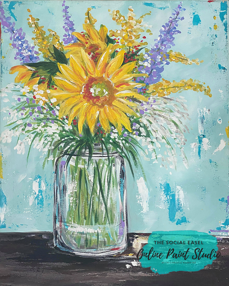 Pumpkin with Sunflowers  Painting Tutorial The Social Easel Online Paint Studio