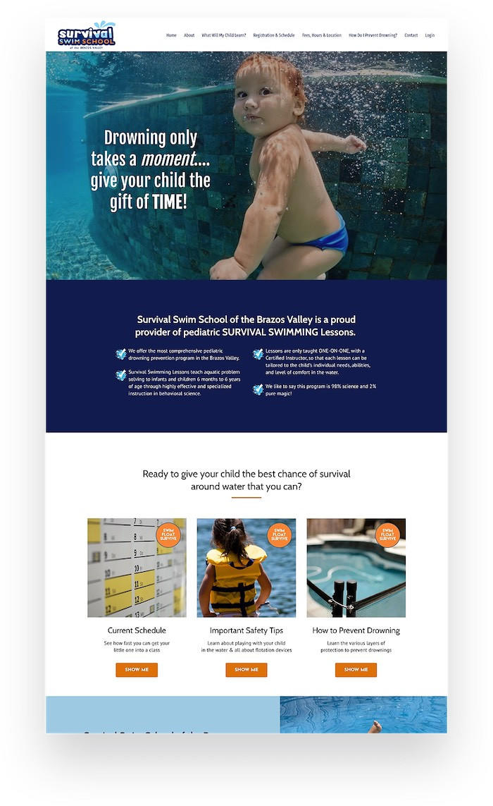 Survival Swim School Kajabi Website