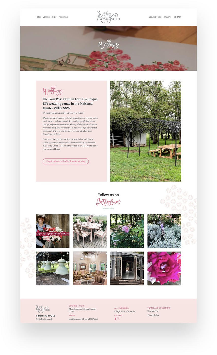 Kajabi Website Example of Wedding Venue Business