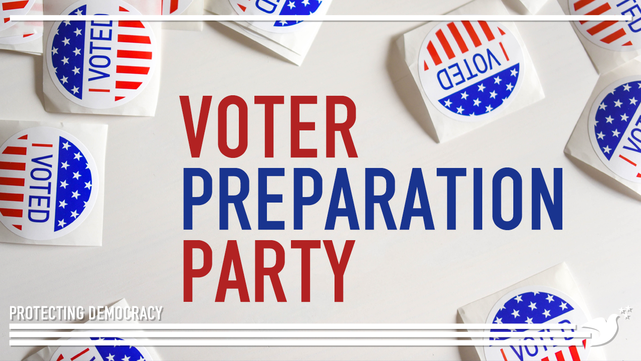 I voted stickers with text: Voter Preparation Party